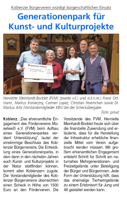 Koblenzer Bürgerverein unterstützt Aufbau des Generationenparks